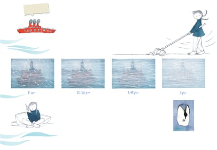 An illustration from Sophie Scott Goes South by Alison Lester.