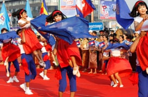 Phnom Penh, Cambodia. Dancers perform during the Victory Day parade