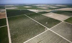 Farm fields are seen in the Central Valley near Fresno