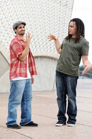 Stevie Lopez as Usnavi and Joe Kalou as Benny, two new leads for In the Heights at the Sydney Opera House.