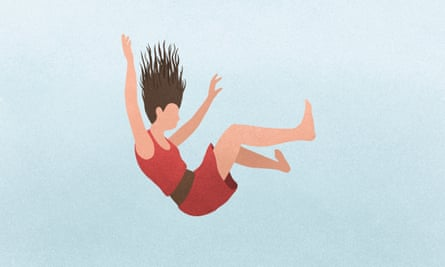 Illustration of a woman falling against a blue background.