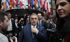 The Hungarian prime minister, Viktor Orbán, at the European council building in Brussels