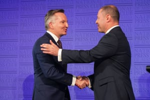 Treasurer Josh Frydenberg and opposition treasurer Chris Bowen in the debate at the National Press Club in Canberra, Monday, May 6, 2019.
