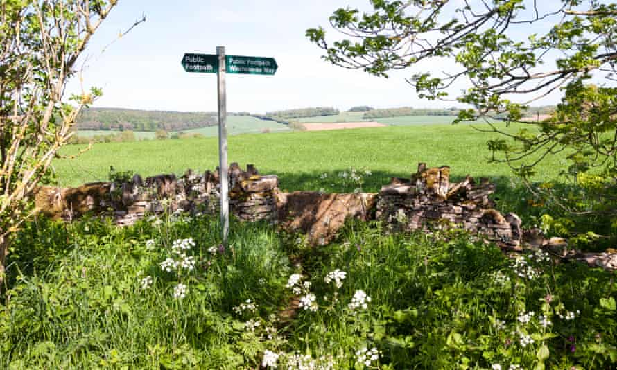 The Winchcombe Way footpath on the Cotswolds UK