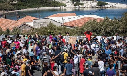 Refugees protest in the wake of the burning down of the Moria camp in Lesbos, Greece