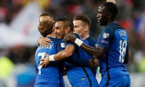 Dimitri Payet celebrates after scoring to put France ahead.