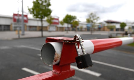 A lock secures the Forster Square Shopping Park car park on 30 April 2020 in Bradford