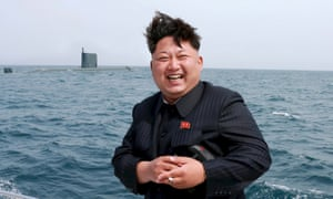 A state media picture of Kim Jong Un enjoying an underwater ballistic missile test