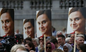Placards show Jo Cox's picture during a commemorative event in Trafalgar Square