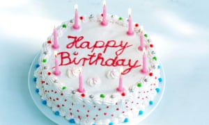 Photograph of birthday cake and candles