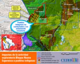 """Map showing BGP's oil and gas concession in the Bolivian Amazon. The company's proposed seismic testing lines are marked in yellow, and the locations of the recent near encounters with indigenous people in """"isolation"""" are marked roughly by the blue bubble."""