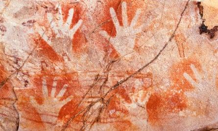 Hand stencil style Aboriginal rock art, West Kimberley.Western Australia, Australia, Kimberley, Australasia