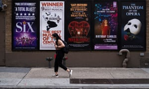 Signs for halted Broadway shows near Times Square in New York City in July.