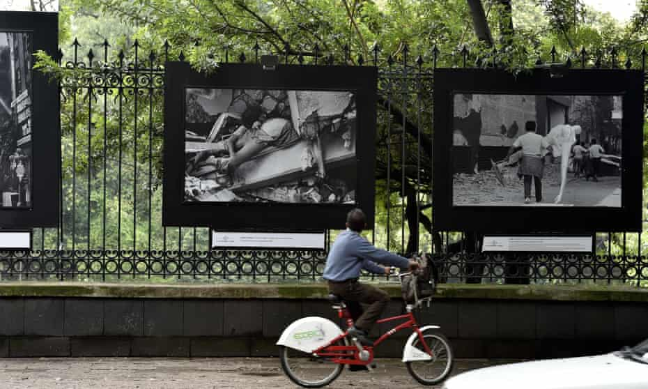 Images of the 1985 Mexico City earthquake are exhibited along Reforma Avenue this month, as part of the 30th anniversary of the disaster.