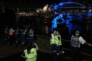 Ambulance workers and paramedics get a front row position for the midnight fireworks viewed at Mrs Macquarie's Chair.
