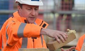 David Cameron lays bricks