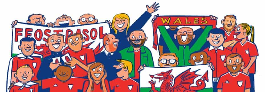 Wales fans illustration