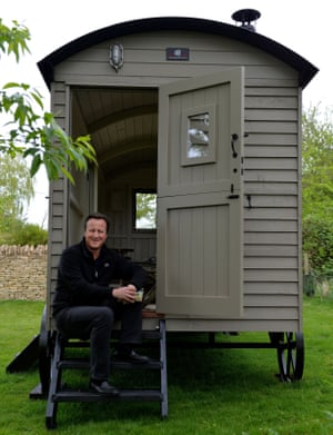 His country life: David Cameron and that shepherd's hut.