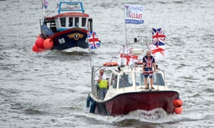 A fishing-boat flotilla sailed up the river Thames in the runup to the referendum to protest against EU fishing quotas.