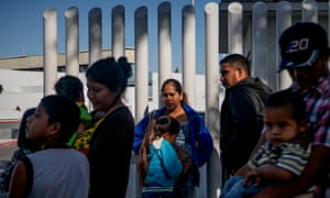 Migrants from Honduras at the US-Mexico border in Tijuana.