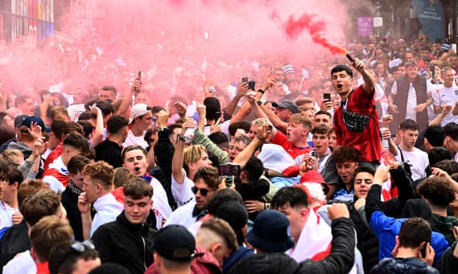 England fans gather outside Wembley before the team's semi-final against Denmark last Wednesday