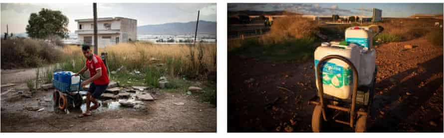 Left: a worker collects water in Don Domingo. Right: workers at El Nazareno settlement use toxic containers to store drinking water
