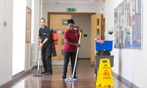 Cleaners at the Queen Mary University of London.
