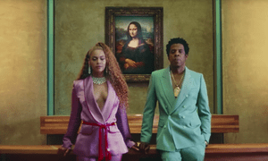 Beyoncé and Jay-Z in a screengrab from their video for Apes**t