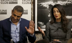 Lawyer Amal Clooney and journalist Mohamed Fahmy at an event at the Frontline Club in London.