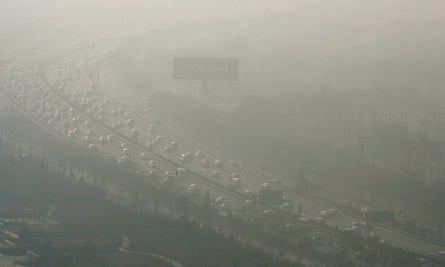 Traffic on a motorway in Beijing, China.