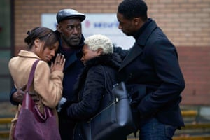 Pippa Benett-Warner as Eileen, Patrick Robinson as Anthony, Nadine Marshall as Janet and CJ Beckford as Gary, in Sitting in Limbo