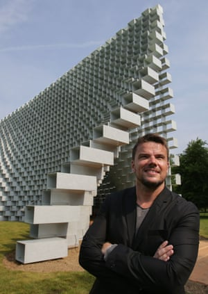 'King of the one-liner' … architect Bjarke Ingels in Kensington Gardens at the Serpentine pavilion unveiling.