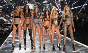 Models Martha Hunt, Lais Ribeiro, Josephine Skriver, Sara Sampaio, Stella Maxwell, and Romee Strijd walk the runway at the 2018 Victoria's Secret fashion show in New York