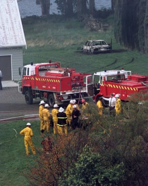 Firefighters at the Seascape bed and breakfast, which Martin Bryant set alight, ending the siege