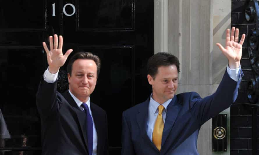 David Cameron and Nick Clegg form a coalition in May 2010.