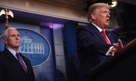 Donald Trump speaks during the daily briefing on the coronavirus at the White House on 22 March 2020.