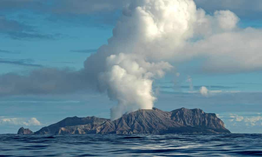The White Island volcano spews steam and ash during an eruption