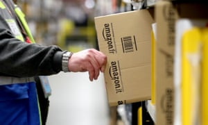A worker in an Amazon 'fulfilment centre'.