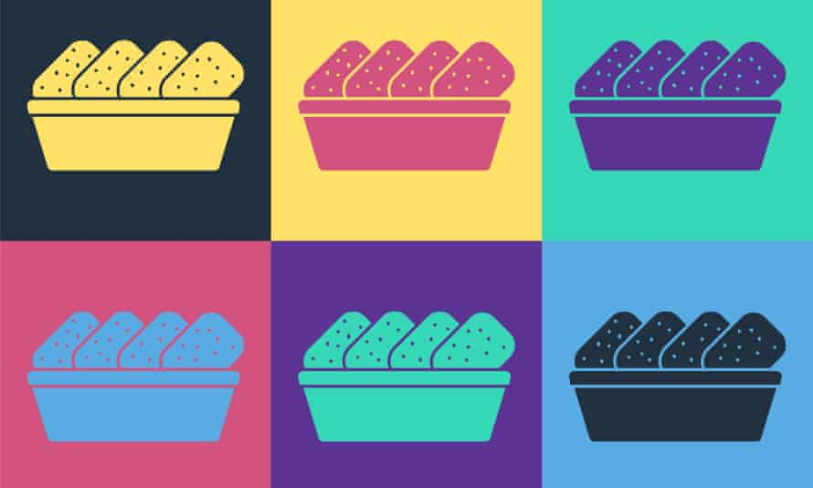 Pop art Chicken nuggets in box icon isolated on color background. Vector Illustration