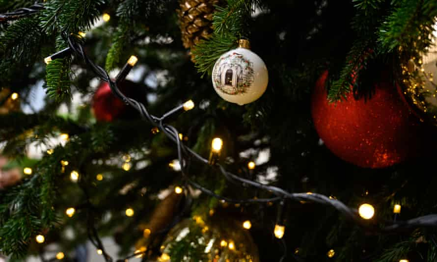 A decorated Number 10 bauble is seen on the Downing Street Christmas tree.