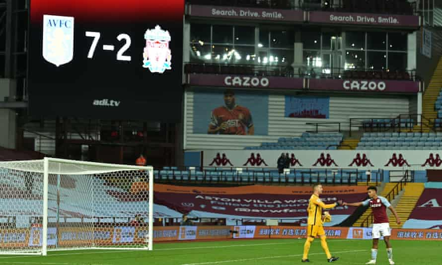 The scoreboard shows Aston Villa beat Liverpool 7-2