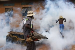 Fumigation is carried out in the district of Anyama to protect residents against dengue fever
