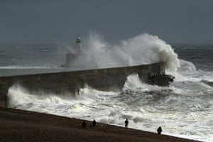 Waves hit the harbour wall in Newhaven