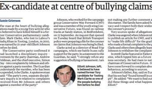 Guardian reveals Mark Clarke accused of bullying Elliot Johnson