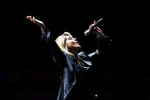 Olivia Newton-John performs at the 58th international song festival in Viña del Mar, Chile