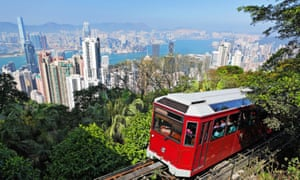 The Peak Tram funicular reveals stunning views of the city. Hong Kong, China.