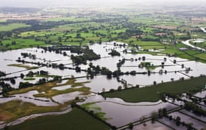 Fields around the flooded River Severn.