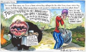 Martin Rowson cartoon, 01/05/21: battle of the liars between Boris Johnson and Dominic Cummings
