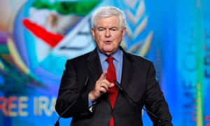 Newt Gingrich delivers a speech during the Free Iran rally in Paris in July 2016.