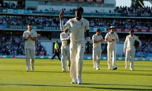 Jofra Archer walks off the field after his six wickets.
